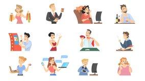 Люди с различными плох привычками установили иллюстрацию иллюстрация штока