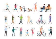Люди с smartphones Много женщины и людей с телефонами Люди с устройством принимая selfie Комплект работы вектора characters иллюстрация вектора