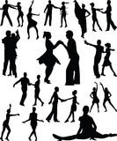 люди танцульки silhouette вектор Стоковые Фото