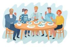 Люди тратя время обеда на кафе иллюстрация вектора