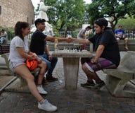 Люди трясут руки после заканчивать спичку шахмат стоковая фотография rf
