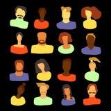 Люди установленные на черную предпосылку иллюстрация штока