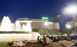 люди фонтана barcelona агрегата Стоковое Изображение RF