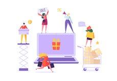 Люди ходят по магазинам онлайн используя ноутбук Электронная коммерция, защита интересов потребителя, розница, концепция продажи  бесплатная иллюстрация