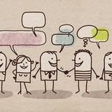 Люди шаржа и социальная сеть иллюстрация вектора