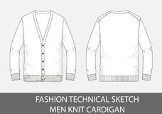 Люди эскиза моды технические вяжут кардиган в векторной графике иллюстрация штока