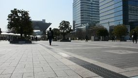 Люди японца и иностранцев идя для того чтобы пойти работать на видимости Токио большой в городке Ariake на городе в Токио, Японии сток-видео