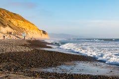 Люди Beachcomb и прогулка вдоль пляжа положения сосен Torrey Стоковое Изображение RF