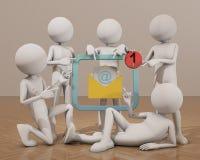 люди 3d указывая палец на электронную почту Стоковые Фото