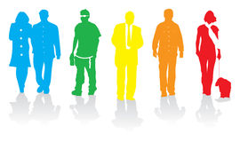 люди silhouette гулять иллюстрация вектора