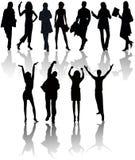 люди silhouettes вектор Стоковая Фотография