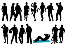 люди silhouettes детеныши Стоковые Изображения