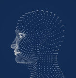 Людская головка ставит точки модель иллюстрация вектора