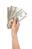 Людская рука с деньгами Стоковые Изображения