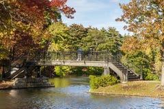 2 люд на footbridge Стоковые Изображения