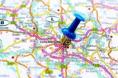 Люксембург на карте Стоковое Фото