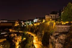 Люксембург на ноче Стоковое фото RF