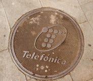 Люк -лаз Telefonica в Барселоне Испании Стоковые Фото