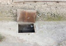 Люк в бетоне стоковое фото rf