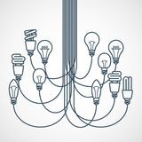 Люстра сделанная из электрических лампочек Стоковые Изображения RF