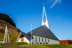 Лютеранин ch формы белого современного стиля Olafsvikurkirkja триангулярный Стоковое Изображение