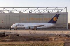 Люфтганза A380 на Люфтганзе Technik Стоковые Изображения
