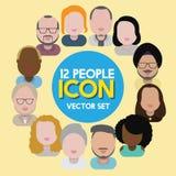 Людей общины разнообразия концепция значков дизайна межрасовых плоская Стоковое Изображение RF