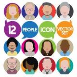 Людей общины разнообразия концепция значков дизайна межрасовых плоская Стоковые Фото
