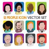 Людей общины разнообразия концепция значков дизайна межрасовых плоская Стоковая Фотография