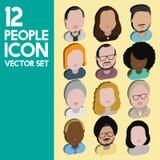 Людей общины разнообразия концепция значков дизайна межрасовых плоская Стоковое Изображение