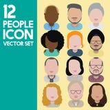 Людей общины разнообразия концепция значков дизайна межрасовых плоская Стоковые Фотографии RF