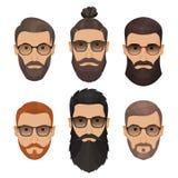 Люди битников бородатые с различными бородами усиков стилей причёсок Стоковое Изображение RF