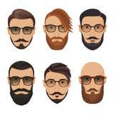 Люди битников бородатые с различными стилями причёсок, усиками, бородой Стоковое Фото