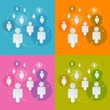 Люди вектора бумажные в установленных кругах Стоковые Фото