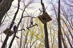 Люди взбираясь препятствия в деревьях Стоковые Изображения RF