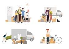 Люди двигая в новый дом с вещами Комплект изображений в плоском стиле Стоковая Фотография