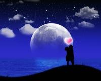 люди влюбленности silhouette женщины Стоковое Изображение