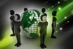 Люди вокруг глобуса представляя социальную сеть Стоковые Фото