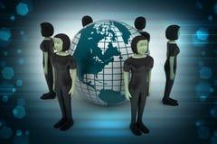 Люди вокруг глобуса представляя социальную сеть Стоковое Фото