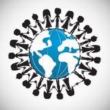 Люди вокруг глобуса Стоковая Фотография
