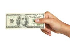 Люди вручают держать 100 долларовых банкнот на белой предпосылке Стоковое Фото