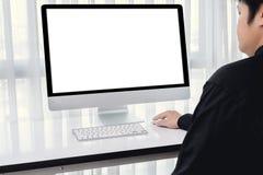 Люди вручают используя мышь компьютера Стоковые Фото