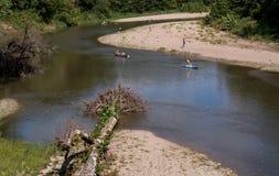 Люди в каное на реке Стоковое фото RF