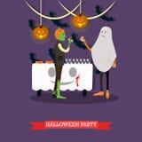 Люди в костюмах изверга и призрака на хеллоуине party Счастливые плакаты концепции праздника Иллюстрация вектора в квартире Стоковое Фото