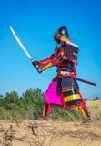 Люди в панцыре самураев с шпагой Стоковое Изображение