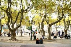 Люди в парке St Tropez стоковое фото rf