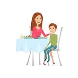 Люди в ресторане для обедающего Стиль квартиры и шаржа Иллюстрация вектора на белой предпосылке Стоковое Изображение RF