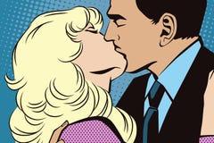 Люди в ретро искусстве шипучки стиля целовать пар Стоковое Фото