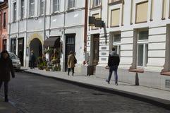 Люди в старом городке в Вильнюсе кончают цветочный магазин стоковые изображения rf