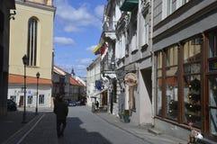 Люди в старом городке в Вильнюсе стоковая фотография